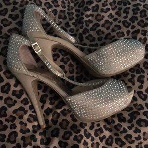 Crystal t strap platform heels